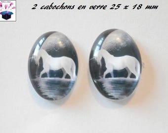 2 cabochons glass 25mm x 18mm horse theme
