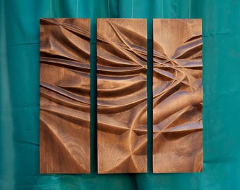 "Wood wall art, home decor, bas-relief sculpture, woodcarving ""Tender flow"""