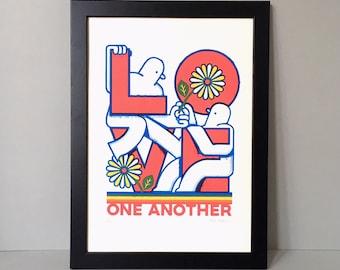 Love One Another print - Love screen print - Love art print - Typography print - Equality print - Pride rainbow print - Love poster - Love