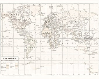 Map Fabric - map of the World -  Cream and white Version Kona Cotton - yardage - sewing, crafting, quilting supplies, pillows, pinboard,