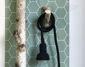 Lampe, garden pendant, crocheted in black, 6 meter cord