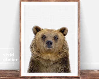 Bear Print, Printable Woodlands, Nursery Woodland Art, Woodland Animals, Nursery Forest Decor, Kids Room Decor, Forest Animal, Nursery Art