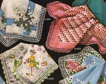 FREE SHIP Coats & Clark Book 311 1955 Mid Century Handkerchief Linen Pillowcase Edgings Crochet