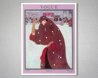 Vogue Magazine Cover November, 1920 Vintage Vogue Poster - Poster Paper, Sticker or Canvas Print / Gift Idea