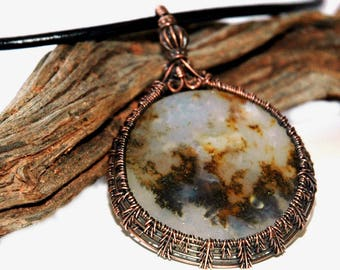 Medallion Stone Pendant, Copper Wire Wrapped Agate Cabochon, Delicate Fern Woven Pattern, Pretty Bead Detail, Mossy Agate, Hammered Clasp