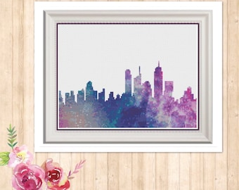 Galaxy Skyline Counted Cross Stitch Pattern