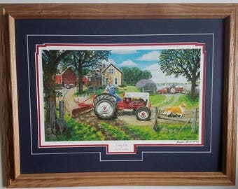Framed 21 x 27 Ford Country farm art print by Russell Sonnenberg titled COunty Lane