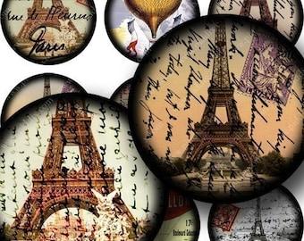 Framed French Ephemera in 1.5 inch circles -- piddix digital collage sheet 675