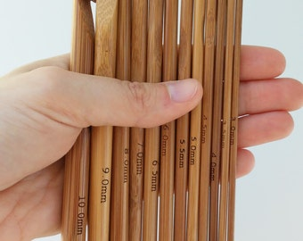 Set 12 needles crochet wood - 12 wooden hooks set - Wooden crochet hooks-Crochet Needles - Bamboo crochet hooks