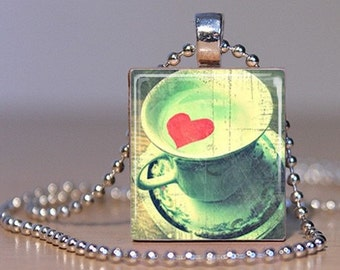 I Love Tea - Cup of Tea with a Red Heart made into a Pendant or Tie Tack on an Upcycled Scrabble Tile (252A7)