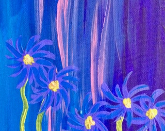 Blue Daisies - Original Folk Art - 5x7 Canvas Panel