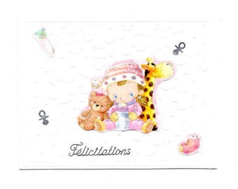 350 - Baby girl congratulations card