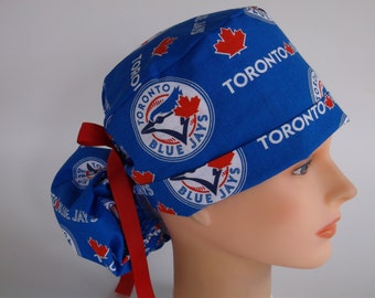 Toronto Blue Jays  Ponytail - Womens lined surgical scrub cap, scrub hat, Nurse surgical cap, F-4270w