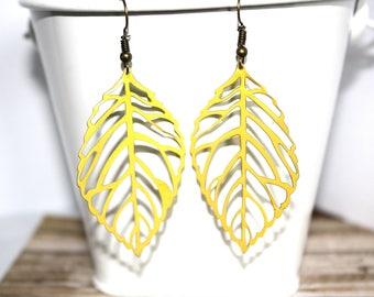 Yellow  Leaf Earrings, Boho Earrings, Lighweight Earrings, Fall Jewelry, Handpainted Earrings
