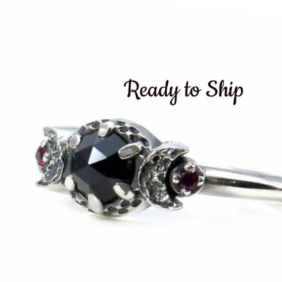 Ready to Ship - Ruby and Black Spinel Moon Goddess Engagement Ring - Sterling Silver