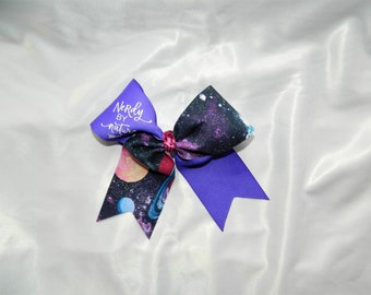 Nerdy By Nature in Purple Galaxy Piggy Tail Cheer Bow Hair Bow Clip