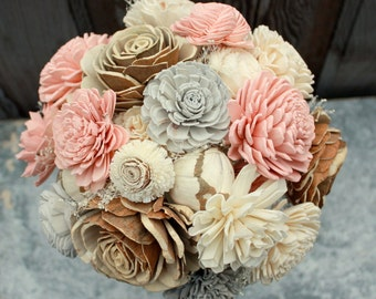 Sola flower bouquet, eco flower wedding bouquet, champagne, rose gold, blush pink wedding flowers, pink and gray bouquet, wedding flowers