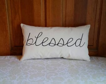 Blessed Pillow | Modern Farmhouse Pillows | Farmhouse Decor Rustic Country | Gifts for Her | Mothers Day Gifts | Pillows with Words