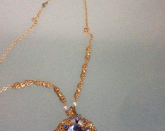 Vintage Pendant West Germany Filigree Blue Crystal