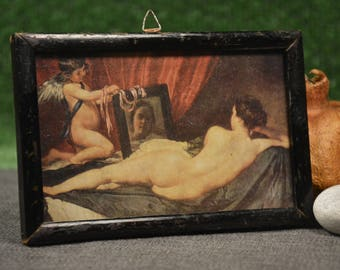 Erotic phography - Vintage erotic frame photo - Brown wooden frame - Art erotic - Erotic collectible - Vintage picture of courtesan