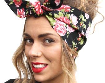 Black Red Rose Land Girl Rockabilly Pinup 50s Vtg Style Head Scarf