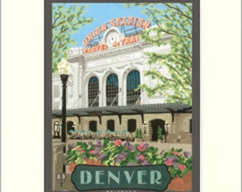 Denver Union Station Matted Giclée Art Print: Colorado Series, The Bungalow Craft by Julie Leidel, WPA-Style Art, Arts & Crafts Movement