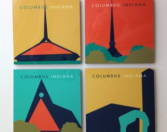 Columbus IN Steeples Coaster Set