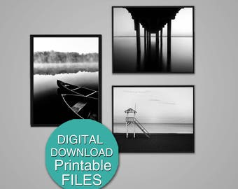 Printable Black and White Beach Photography Set of 3 Prints Nautical Wall Decor Dock Photograph 8x10 5x7 A4