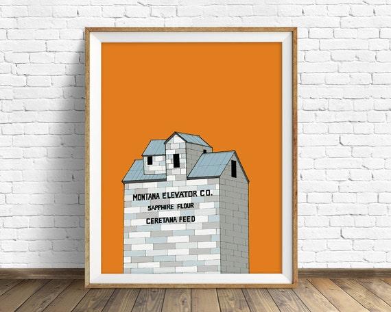 "grain elevator, drawing, orange, gray, blue, wall art, large wall art, home decor, nursery art, kids room decor - ""Wilsall Grain Elevator"""