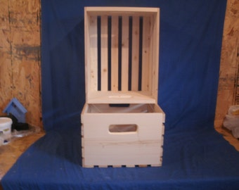 "wood crate  for L.P. Albums.  wooden crate 13"" wide  unfinished wood crate, Record Crate, wood Box, wooden storage crate"