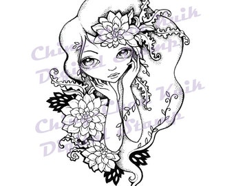Dream Of Dahlia - Digital Stamp Instant Download / Botanical Flora Flower Fantasy Fairy Girl by Ching-Chou Kuik