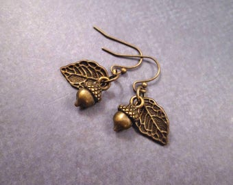 Acorn and Leaf Earrings, Brass Dangle Earrings, FREE Shipping U.S.