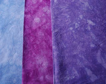 Purple Hand Dyed Linen Embroidery Fabric Bundle, Organic Hemp Material for Crafting, 54 count Arlington