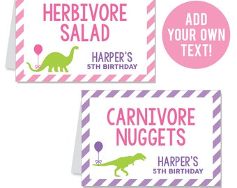 EDITABLE INSTANT DOWNLOAD Pink Dinosaur Party Buffet Cards - Editable, printable table tent cards