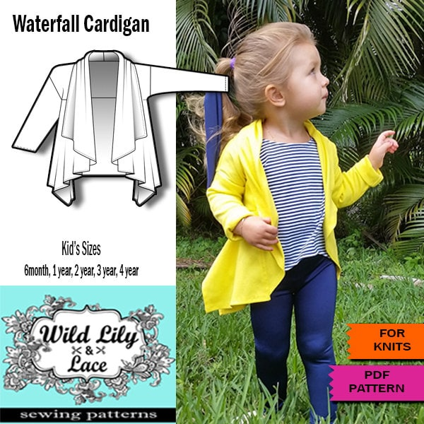 KIDS SEWING PATTERN for Waterfall cardigan kids cardigan