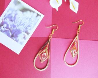 Handmade Earrings   Long Earrings   Teardrop   Crystal   Golden   Chandelier Earrings