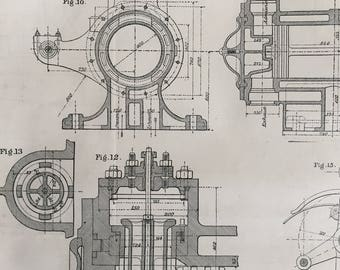 1878 Large Antique Blueprint of Geared Pumping Engine - Double Page Technical Drawing
