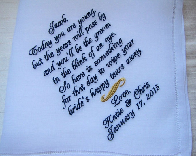 Ring Bearer Gift Embroidered Wedding Handkerchief, Personalized Ring Bearer Gifts, Wedding Party Gifts, Boys Wedding Party Gifts, Gifts Boys