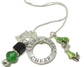 Gift for Cheerleader Jewelry Cheerleading Necklace Personalized Gift Initial Cheer-leader Charms 18 inch Snake Chain Necklace Squad team USA