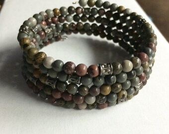 Bead memory wire bracelet - gemstone silver accents