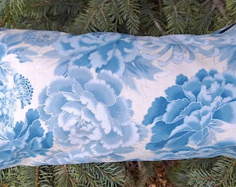 Japanese Mahjong tiles bag, flat bottom pouch, knitting notions pouch, cosmetic bag, Peony Splendor, blue silver, The Large Zini
