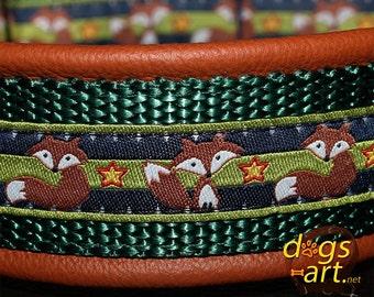 "Dog Collar ""Fox"" by dogs-art, metal buckle collar, fox, buckle dog collar, dog collar, leather dog collar, custom dog collar, hundehalsband"