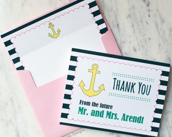 FREE SHIPPING & PERSONALIZATION Thank You From Mr and Mrs Nautical Wedding Stationery Set | Note Card Set | Bridal Shower Gift for Bride