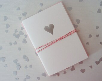 Silver Foil Stamped Heart Notecard Set - Folded