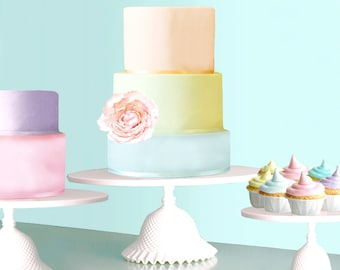 """16"""" Cake Stand for Pastel Weddings / Cupcake Stand for Pastel Cupcakes / Ruffle Cake Stand / Wedding Cake in Pastels"""