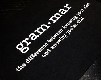 Oops Print - White on Black Grammar Definition between Your and You're Print