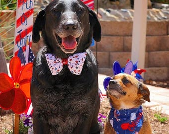 Patriotic Dog Bow Tie  || Personalized Preppy Bowtie || Custom Gift by Three Spoiled Dogs