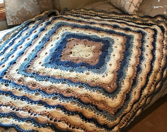 Virus Afghan in Blues and Browns
