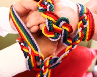 Rainbow handfasting cord/ribbon with Celtic Love-knot