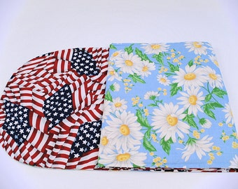 Daisy/Red White and Blue Table Runner, Flower/Patriotic Table Cloth, Summer/4th of July Table Decoration, 49 in.x14 in.